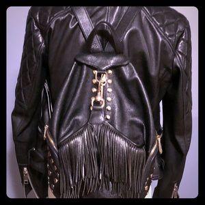Rebecca Minkoff leather studded fringe backpack
